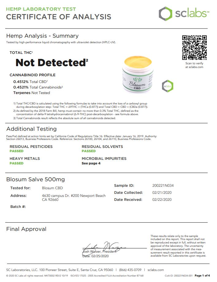 Blosum CBD Salve  Warming Botanical 500mg Lab Test